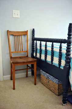 dark blue spindle bed for Coop's room when he is ready. Room Furniture Design, Kids Furniture, Rooms Furniture, Plywood Furniture, Cannonball Bed, Toddler Rooms, Toddler Bed, White Nursery, Blue Bedding