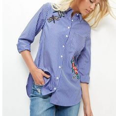 2016 fashion long sleeve women shirts dragonfly flowers embroidered stripes women shirt blouses S M L Work Fashion, Trendy Fashion, Fashion Outfits, Womens Fashion, Fashion Trends, Street Fashion, Latest Fashion, Camisa Floral, Loose Shirts