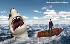 Businessman in a boat in the stormy sea and great white shark by Michael Rosskothen