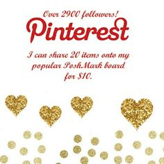 Posh mark Marketing on Pinterest Share 20 items from your Posh mark Closet onto my popular Pinterest board  with over 2900 followers for only $10. Other