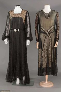 TWO BLACK LACE EVENING GOWNS, 1928-1935