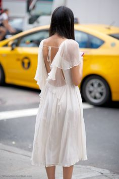 NYFW Streetstyle white backless dress