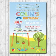 Park playground birthday invitation printable or printed with free play park birthday invitation play park invite play ground invitation playground invite picnic invite digital printable file filmwisefo Gallery