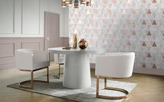 Rose Gold Reflections Wallpaper by Graham & Brown uses this season's popular geometric trend to create an iconic and sleek design only available on our website. Gold Geometric Wallpaper, Rose Gold Wallpaper, Modern Wallpaper, Brown Paint, Or Rose, Decorative Items, Reflection, Dining Table, Living Room