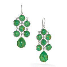 #ElizabethShowers Juliette #SterlingSilver & #Green #Turquoise Chandelier #Earrings