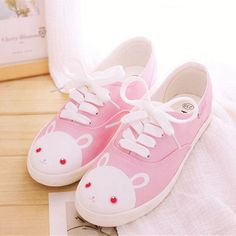 "Korean cute bunny canvas shoes Use the code ""cherry blossom"" at www.Sanrense.com for a 10% discount!"