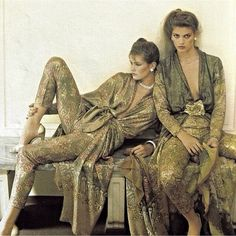 Super Seventies — Gia Carangi and Juli Foster for Lancetti, 1978.