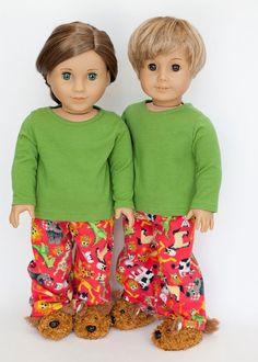 American Boy/girl doll pajamas with slippers  by EverydayDollwear