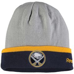 Men s Buffalo Sabres Reebok Gray Team Logo Cuffed Knit Hat b17dd991d8e3