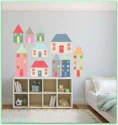FREE SHIPPING 10 House Wall Decal. Differnt Sizes  &Pastel Colors.Nursery Decal. Kids Wall Decal. Vinyl Wall Decal. Diy Decals. Home Decor.