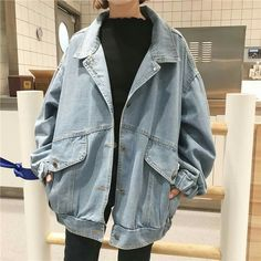 Womens Bf Style Stonewashing Loose Fit Casual Denim Coat Oversize Jeans Jacket Source by vchaverria Look Fashion, Korean Fashion, Classy Fashion, Fashion 2020, 90s Fashion, Fashion Online, Winter Fashion, Mode Outfits, Fashion Outfits
