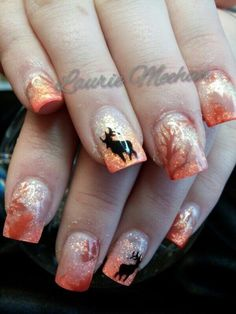 Image via I had this fall nail art design burn a hole in my imagination, so I thought I'd just make it and show you, despite the amazing weather. I put my bottle of Picture Polish Malt Teaser andYou are in the right place about nail ideas orange Her Camo Nail Art, Camouflage Nails, Fall Nail Art Designs, Cute Nail Designs, Hunting Nails, Deer Nails, Country Nails, Gel Nagel Design, Nagellack Trends