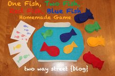 Easy-to-make felt game for toddlers and preschoolers.  Based on Dr. Seuss' One Fish, Two Fish, Red Fish, Blue Fish.