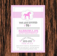 Horse / Pony Birthday Party DIY Printable Invitation