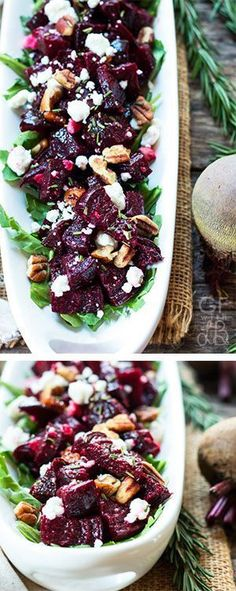 Twice Roasted Beets with Goat Cheese & Herbs | A healthy, gluten free and vegetarian dinner or salad recipe for roasted beets with goat cheese, rosemary, thyme, and pecans.