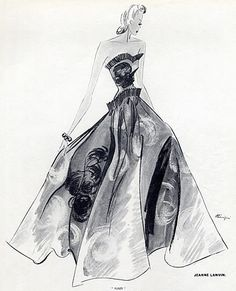 Jeanne Lanvin 1939 Evening Gown, Fashion Illustration Benigni