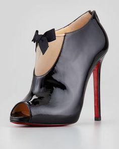 Christian Louboutin Estandono Patent Bow Bootie, Black on shopstyle.com