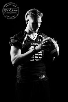 Jake Ray - Lone Star High School - Black and White - Senior - Senior Model Rep - Football Player - Football - Ideas for Guys - Studio - Senior Pictures - #seniorportraits - Senior Portraits - Close Up - #seniorpics - Ideas for Athletes - Tyler R. Brown Photography