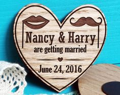 Heart Wooden Magnet Save The Date-Engraved Save-The-Date Magnet-Laser Cut Rustic Save the Date-Heart Save the Dates Magnet-Moustache-Lips