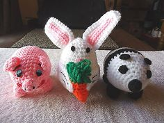 """Set Of 3 Crocheted Oval Shaped Animals """" BEAUTIFUL COLLECTIBLE SET """" #collectibles #home"""