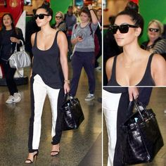 Kim Kardashian Sydney Airport Look: Color Block Pants & Celine Sunglasses