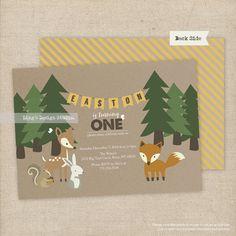 Woodland Invitation / Woodland Birthday Invitation Set - Printable or Printed Flat Cards