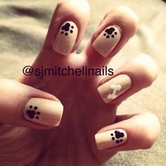 Paw print nails using Revlon Sandy Nude with Elf White and Black#dog #paw #print #bone