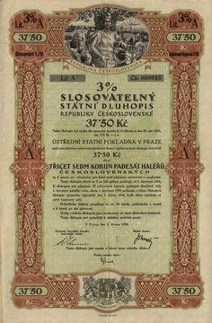 Slosovatelný státní dluhopis republiky Československé (3% verlosbare Staatsschuldverschreibung der Čechoslovakischen Republik, 3% sorsolási csehszlovák köztársasági államkölcsönkötvény) na 37,50 Kč. Praha, 1926.  tzv. odškodňovací dluhopis za válečné půjčky.