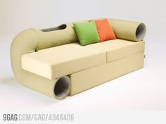 Cat Tunnel Sofa... that is pretty cool.. So totally putting this in my animal room in my future house.