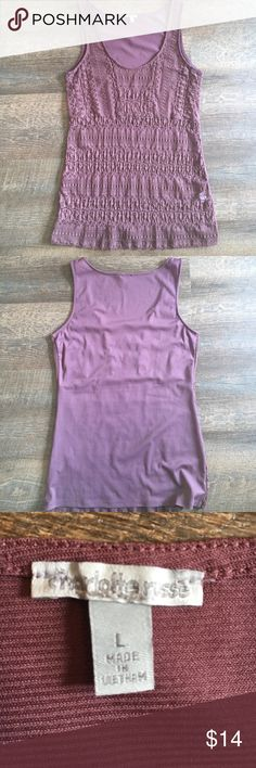 Lacy tank from Charlotte Russe Lacy tank in a mauve color from Charlotte Russe. The front is just lace, so it needs to be layered over a tank. Charlotte Russe Tops Tank Tops
