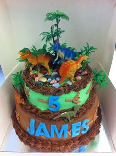 """Dinosaur cake ideas - must add the dino eggs and also some green coconut """"grass"""""""