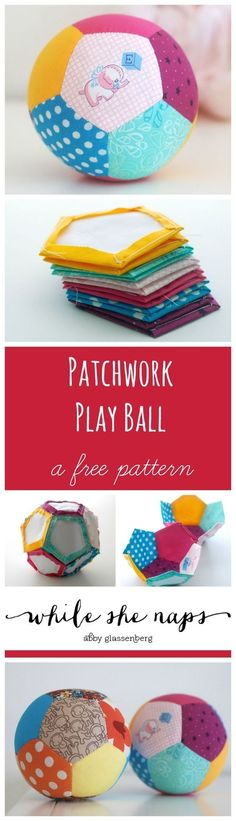 Tutorial: Patchwork Play Ball Made With English Paper Piecin .- Tutorial: Patchwork Play Ball Made With English Paper Piecing Make your own Patchwork toys for your baby :] - Baby Sewing Projects, Sewing Projects For Beginners, Sewing For Kids, Sewing Tutorials, Sewing Patterns, Quilting Tutorials, Tatting Patterns, Quilting Projects, Baby Patterns