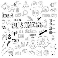 Collection of business doodles, hand drawn vector elements for your design