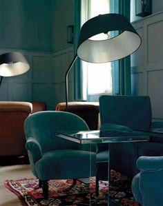 velvet, mirrored table, oriental rug, fab lamp