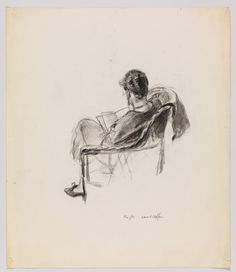 Edward Hopper / (Study of Jo Hopper Reading, Rear View) / undated / charcoal on paper