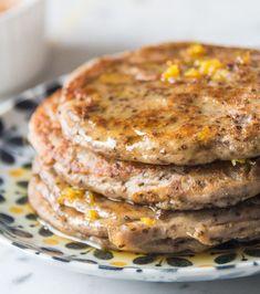 Lemon Cardamom Pancakes with a Zesty Honey Drizzle - DeliciouslyElla