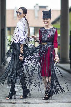 Street style friends in fabulous fringe. Alina Tanasa & Diana Enciu at Milan Fashion Week Spring 2015. #FabulousMuses