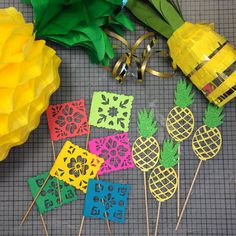 Cupcake Toppers for a Pineapple Fiesta #fiesta #decorations #pinatas #pineapple #papelpicado  www.lulaflora.etsy.com