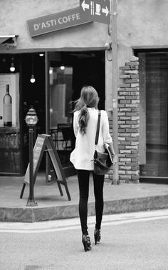flowy white shirt, super skinny jeans, black strappy heels