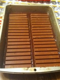 Place the 3 XL Kit Kat bars over the layer of brownie mix.