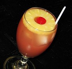 Love Potion # 69 (1 oz. Malibu Coconut Rum 1 oz. Peach Schnapps .5 oz. Bacardi 151 Rum 4 oz. Pineapple Juice 2 oz. Cranberry Juice)