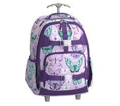 Rolling Backpack, Mackenzie LavenderPrettyButterfly