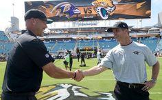Jacksonville Jaguars head coach Gus Bradley, left, greets Baltimore Ravens head coach John Harbaugh before an NFL football game in Jacksonville, Fla., Sunday, Sept. 25, 2016.