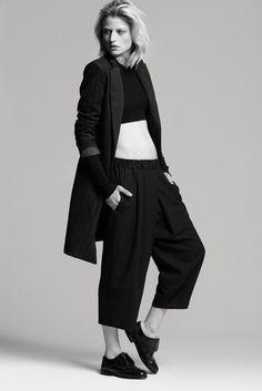 Mango pinstripe coat Zara cropped crew neck sweater Acne wide leg tuxedo trousers Vintage oxfords
