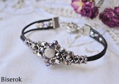 openwork beaded wiring diagram of a master class, u, MC, on a cord bracelet with openwork lace of beads and