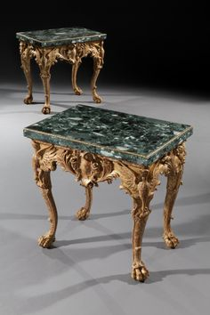 A PAIR OF GEORGE II GILTWOOD TABLES
