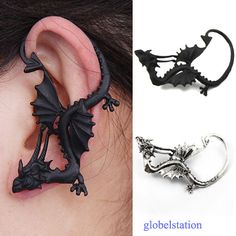 New Gothic Punk Rock Style Fly Dragon's Lure Stud Ear Cuff Wrap Earrings | eBay