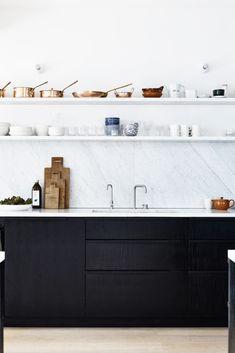 Oracle, Fox, Sunday, Sanctuary, focal, Point, Bright, Modern, Australian, Interior, black and white kitchen, wooden floors, marble kitchen