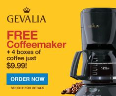 Get a FREE Coffeemaker When You Buy 4 Boxes of Coffee for just $9.99 on Auto Delivery at Gevalia.com! Ends 12/31/12