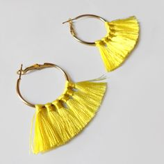 Hoop Tassel Earrings Hoop Earrings Yellow Tassel Earrings by Adarri on Etsy